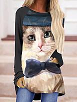 cheap -Women's 3D Cat Painting T shirt Cat 3D Long Sleeve Print Round Neck Basic Tops Yellow