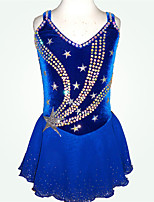 cheap -Figure Skating Dress Women's Girls' Ice Skating Dress Blue Spandex High Elasticity Training Competition Skating Wear Patchwork Crystal / Rhinestone Sleeveless Ice Skating Figure Skating