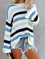 cheap -Women's Pullover Sweater Chunky Multi Color Stripes Active Casual Long Sleeve Loose Sweater Cardigans Round Neck Fall Spring Blue Blushing Pink