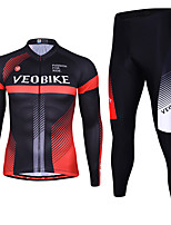 cheap -Men's Long Sleeve Cycling Jersey with Tights Winter Spandex Black / Red Stripes Bike Quick Dry Sports Stripes Mountain Bike MTB Road Bike Cycling Clothing Apparel / Stretchy / Athletic / Athleisure