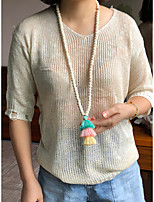 cheap -Beaded Necklace Y Necklace Women's Beads Wood Fashion Holiday Casual / Sporty Sweet Boho Light Green Black Dark Blue Coffee 90 cm Necklace Jewelry 1pc for Gift Daily Holiday Prom Festival irregular