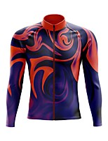 cheap -21Grams Men's Long Sleeve Cycling Jersey Spandex Polyester Red+Blue Funny Bike Top Mountain Bike MTB Road Bike Cycling Quick Dry Moisture Wicking Breathable Sports Clothing Apparel / Stretchy