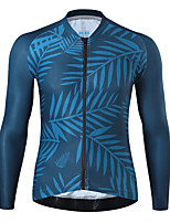 cheap -21Grams Men's Long Sleeve Cycling Jersey Spandex Dark Navy Leaf Bike Top Mountain Bike MTB Road Bike Cycling Quick Dry Moisture Wicking Sports Clothing Apparel / Athleisure