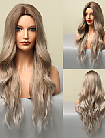 cheap -Synthetic Wig Natural Wave Deep Wave Middle Part Wig 28 inch Gray Synthetic Hair Women's Soft Natural Fashion Ombre Brown Dark Gray