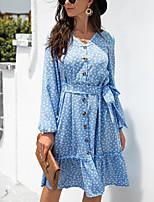 cheap -Women's A Line Dress Knee Length Dress Light Blue Green Black Long Sleeve Dot Modern Style Fall Winter V Neck Casual 2021 S M L XL