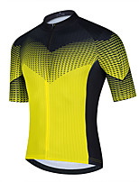 cheap -21Grams Men's Short Sleeve Cycling Jersey Summer Spandex Polyester Yellow Blue Black Color Block Funny Bike Top Mountain Bike MTB Road Bike Cycling Quick Dry Moisture Wicking Breathable Sports
