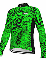 cheap -21Grams Men's Long Sleeve Cycling Jersey Spandex Polyester Green Polka Dot Fluorescent Funny Bike Top Mountain Bike MTB Road Bike Cycling Quick Dry Moisture Wicking Breathable Sports Clothing Apparel