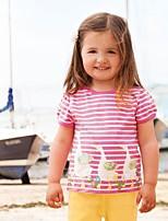cheap -Kid's Little Girls' Tee Cartoon Stripes Blushing Pink Short Sleeve Basic Chic & Modern Casual Dresses