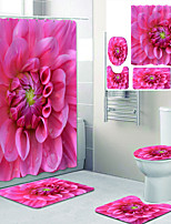 cheap -Pink Beautiful Flowers Printed Bathroom Home Decoration Bathroom Shower Curtain Lining Waterproof Shower Curtain with 12 hooks Floor Mats and Four-Piece Toilet Mats.