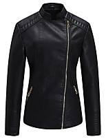 cheap -Women's Jacket Daily Fall Winter Regular Coat Stand Collar Regular Fit Warm Casual Jacket Long Sleeve Solid Color Quilted Black