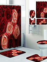 cheap -Beautiful Roses Printed Bathroom Home Decoration Bathroom Shower Curtain Lining waterproof shower curtain with 12 hooks floor mats and four-piece toilet mats.