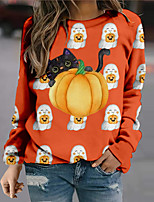 cheap -Women's Sweatshirt Pullover Graphic Prints Pumpkin Print Halloween Sports 3D Print Active Streetwear Hoodies Sweatshirts  Purple Gray Orange