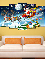 cheap -Christmas Santa Claus Wall Art Canvas Prints Painting Artwork Picture Home Decoration Decor Rolled Canvas No Frame Unframed Unstretched