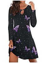 cheap -Women's A Line Dress Knee Length Dress Blue Black Red Long Sleeve Print Modern Style Fall Winter Round Neck Casual 2021 S M L XL XXL 3XL 4XL 5XL