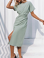 cheap -Women's A Line Dress Midi Dress Green Short Sleeve Solid Color Modern Style Summer Round Neck Casual 2021 S M L