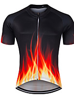 cheap -21Grams Men's Short Sleeve Cycling Jersey Summer Spandex Polyester Black / Red Funny Bike Top Mountain Bike MTB Road Bike Cycling Quick Dry Moisture Wicking Breathable Sports Clothing Apparel