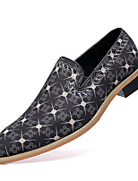 cheap -Men's Loafers & Slip-Ons Penny Loafers Casual Wedding Daily Canvas Synthetics Breathable Height-increasing Black Brown Fall Spring / Square Toe