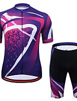 cheap -CAWANFLY Men's Short Sleeve Cycling Jersey with Shorts Summer Fuchsia Bike Sports Geometic Mountain Bike MTB Road Bike Cycling Clothing Apparel / Micro-elastic / Athleisure / Triathlon