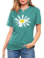 cheap -Women's T shirt Floral Graphic Daisy Print Round Neck Basic Vintage Tops Regular Fit Blue Blushing Pink Wine