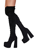 cheap -Women's Boots Flare Heel Round Toe Over The Knee Boots Party Daily Suede Elastic Fabric Solid Colored Red Black