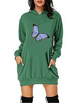 cheap -Women's A Line Dress Short Mini Dress Green White Black Red Long Sleeve Butterfly Animal Pocket Print Fall Winter Hooded Casual Christmas 2021 S M L XL XXL 3XL