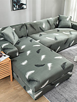 cheap -Stretch Sofa Cover Slipcover Elastic Sectional Couch Armchair Loveseat 4 or 3 seater L shape Gray Feather Print Pattern