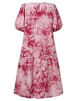cheap -Women's A Line Dress Knee Length Dress Blue Yellow Blushing Pink Half Sleeve Print Modern Style Summer Round Neck Casual 2021 S M L XL XXL XXXL