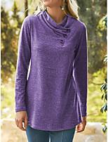 cheap -Women's T shirt Plain Long Sleeve Button Diagonal Neck Basic Tops Blue Purple Wine