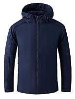 cheap -Men's Hiking Softshell Jacket Hiking Windbreaker Hiking Fleece Jacket Elastane Polar Fleece Winter Outdoor Solid Color Thermal Warm Waterproof Windproof Warm Hoodie Trench Coat Top Ventilation Zip