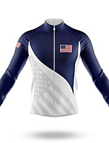 cheap -21Grams Men's Long Sleeve Cycling Jersey Spandex Polyester Blue+White American / USA Funny Bike Top Mountain Bike MTB Road Bike Cycling Quick Dry Moisture Wicking Breathable Sports Clothing Apparel