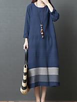 cheap -Women's A Line Dress Midi Dress Blue Black Red Long Sleeve Color Block Patchwork Fall Round Neck Casual 2021 M L XL XXL