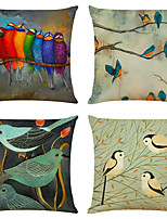 cheap -Bird Double Side Cushion Cover 4PC Soft Decorative Square Throw Pillow Cover Cushion Case Pillowcase for Bedroom Livingroom Superior Quality Machine Washable Indoor Cushion for Sofa Couch Bed Chair