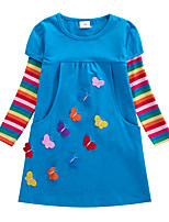 cheap -Kids Little Girls' Dress Striped Butterfly Flower A Line Dress Birthday Casual Embroidered Blue Knee-length Long Sleeve Cute Sweet Dresses Children's Day Fall Loose 2-8 Years
