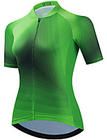 cheap -21Grams Women's Short Sleeve Cycling Jersey Summer Spandex Green Gradient Bike Top Mountain Bike MTB Road Bike Cycling Quick Dry Moisture Wicking Sports Clothing Apparel / Stretchy / Athleisure
