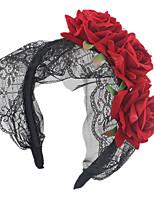 cheap -Gothic Lolita Maid Lace Headband Halloween Party Headband Red Rose Flower Headband