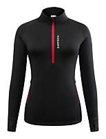 cheap -WOSAWE Women's Cycling Jacket Winter Bike Winter Fleece Jacket Jersey Thermal Warm Fleece Lining Sports Solid Color Black Clothing Apparel Bike Wear / Long Sleeve / Athletic