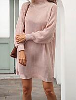cheap -Women's Sweater Jumper Dress Short Mini Dress Blushing Pink Gray White Long Sleeve Solid Color Jacquard Fall Winter Turtleneck Casual 2021 S M L XL