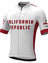 cheap -21Grams Men's Short Sleeve Cycling Jersey Summer Spandex Black / Red California Republic Bike Top Mountain Bike MTB Road Bike Cycling Quick Dry Moisture Wicking Sports Clothing Apparel / Stretchy