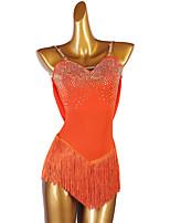 cheap -Figure Skating Dress Women's Girls' Ice Skating Dress Orange Open Back Patchwork High Elasticity Training Competition Skating Wear Handmade Solid Colored Classic Crystal / Rhinestone Sleeveless Ice