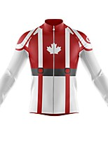 cheap -21Grams Men's Long Sleeve Cycling Jersey Spandex Polyester Red Canada Funny Bike Top Mountain Bike MTB Road Bike Cycling Quick Dry Moisture Wicking Breathable Sports Clothing Apparel / Athleisure