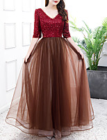 cheap -A-Line Color Block Glittering Engagement Formal Evening Dress V Neck Half Sleeve Floor Length Tulle Sequined with Pleats Sequin 2021