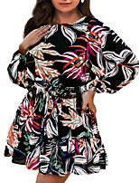 cheap -Women's A Line Dress Short Mini Dress Black Long Sleeve Floral Print Fall Round Neck Casual 2021 S M L XL XXL 3XL