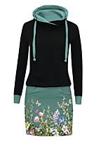 cheap -Women's Sheath Dress Knee Length Dress Green Long Sleeve Floral Pocket Print Fall Winter Hooded Work Casual 2021 S M L XL XXL