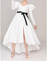 cheap -A-Line Minimalist Princess Engagement Formal Evening Dress V Neck Long Sleeve Asymmetrical Satin with Sash / Ribbon Pleats 2021