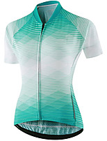 cheap -21Grams Women's Short Sleeve Cycling Jersey Summer Spandex Polyester Green Stripes Funny Bike Top Mountain Bike MTB Road Bike Cycling Quick Dry Moisture Wicking Breathable Sports Clothing Apparel