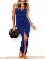 cheap -Women's Sheath Dress Maxi long Dress Blue Grey Sleeveless Solid Color Split Button Spring Summer Strap Casual Sexy 2021 S M L XL