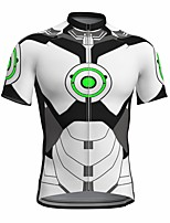 cheap -21Grams Men's Short Sleeve Cycling Jersey Summer Spandex Polyester White Fluorescent Funny Bike Top Mountain Bike MTB Road Bike Cycling Quick Dry Moisture Wicking Breathable Sports Clothing Apparel