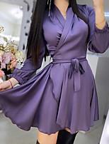 cheap -Women's A Line Dress Short Mini Dress Blue Purple Long Sleeve Solid Color Lace up Fall V Neck Casual 2021 S M L XL XXL