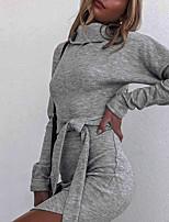 cheap -Women's Sheath Dress Knee Length Dress Gray Black Long Sleeve Solid Color Split Lace up Fall Turtleneck Work Casual 2021 S M L / Cotton