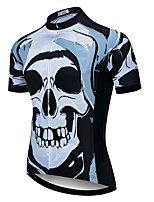 cheap -21Grams Men's Short Sleeve Cycling Jersey Summer Spandex Polyester Bule / Black Skull Funny Bike Top Mountain Bike MTB Road Bike Cycling Quick Dry Moisture Wicking Breathable Sports Clothing Apparel